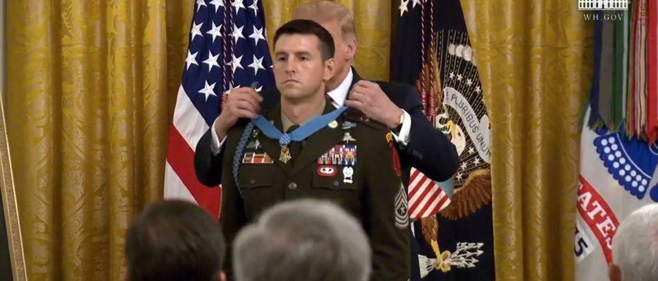 President Trump awards a Medal of Honor. (Screenshot/Youtube/white House)
