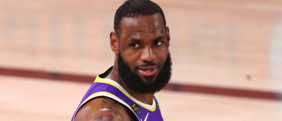 Sep 26, 2020; Lake Buena Vista, Florida, USA; Los Angeles Lakers forward LeBron James (23) reacts against the Denver Nuggets during the first half in game five of the Western Conference Finals of the 2020 NBA Playoffs at AdventHealth Arena. (Credit: Kim Klement-USA TODAY Sports via Reuters)