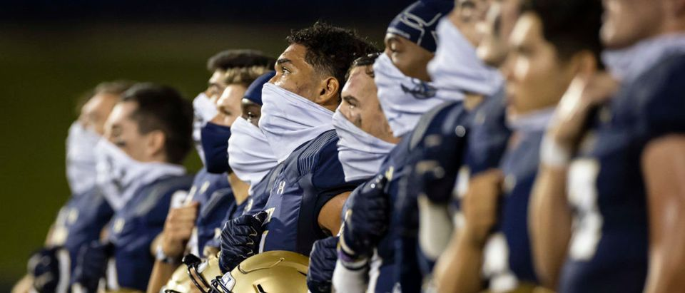 Sep 7, 2020; Annapolis, Maryland, USA; Navy Midshipmen stand for the Blue and Gold after the game against the Brigham Young Cougars at Navy-Marine Corps Memorial Stadium. Mandatory Credit: Scott Taetsch-USA TODAY Sports via Reuters