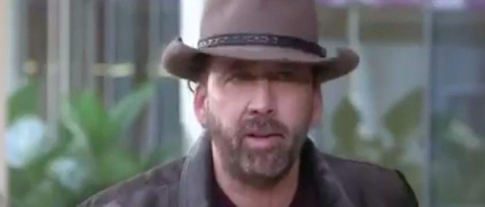 Nicolas Cage (Credit: Screenshot/Twitter Video https://twitter.com/talkhoops/status/1301789136412487680)