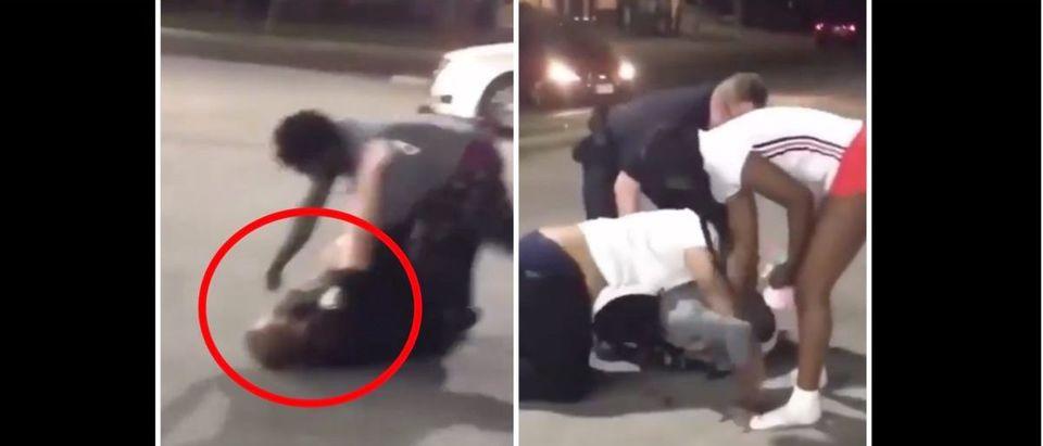 Police Fight (Credit: Screenshot/Twitter Video https://twitter.com/GrantB911/status/1303478002077044736)