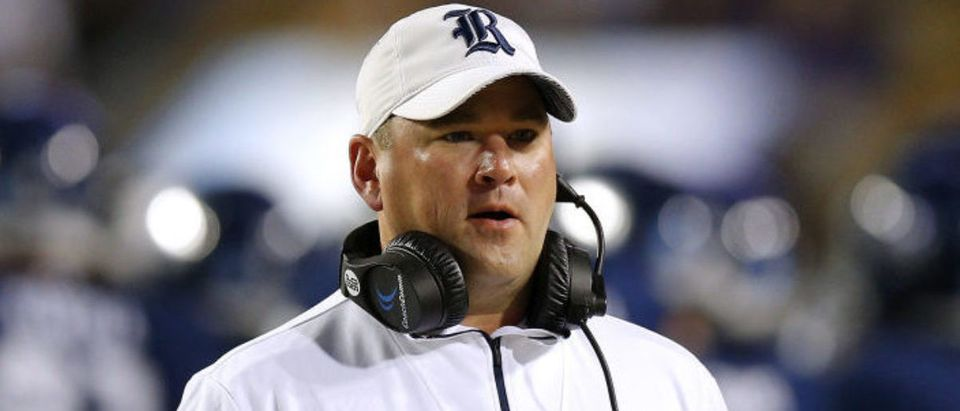 BATON ROUGE, LOUISIANA - NOVEMBER 17: Head coach Mike Bloomgren of the Rice Owls reacts during the first half against the LSU Tigers at Tiger Stadium on November 17, 2018 in Baton Rouge, Louisiana. (Photo by Jonathan Bachman/Getty Images)