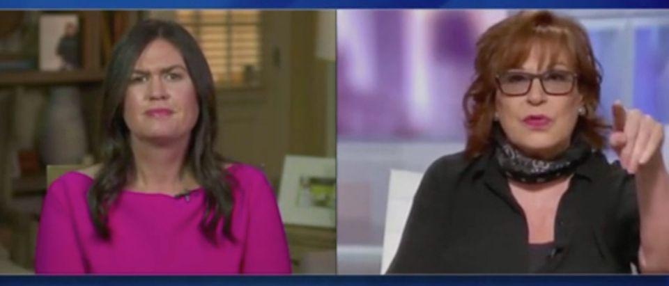 "Sarah Sanders and Joy Behar appear on ""The View."" Screenshot/ABC"