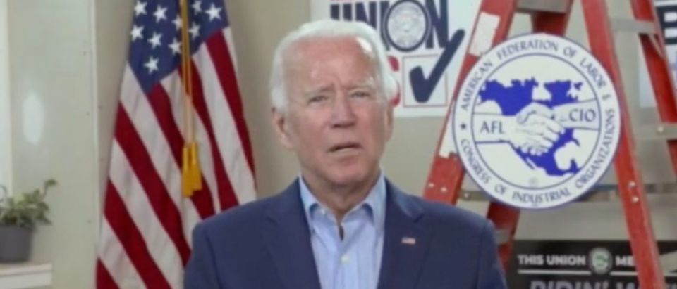 Joe Biden holds virtual AFL-CIO event. Screenshot/NBC News