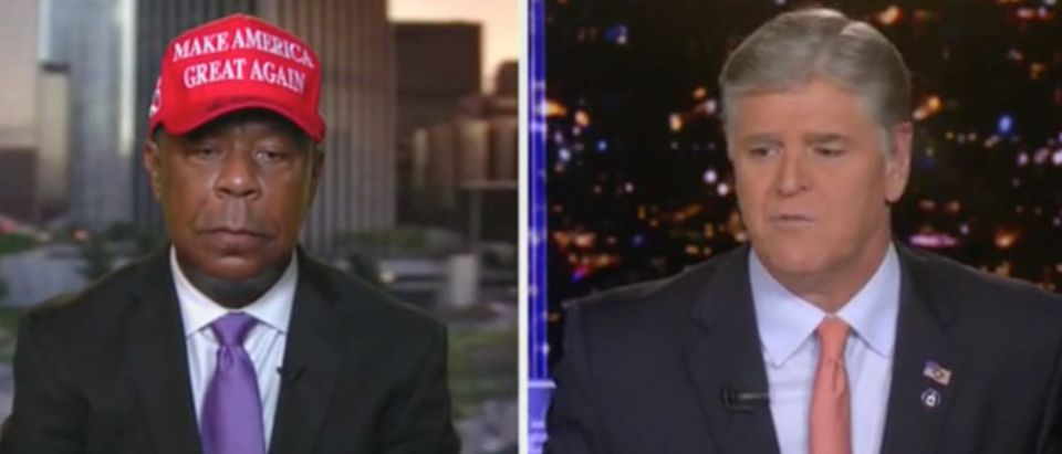 "Leo Terrell and Sean Hannity appear on ""Hannity."" Screenshot/Fox News"