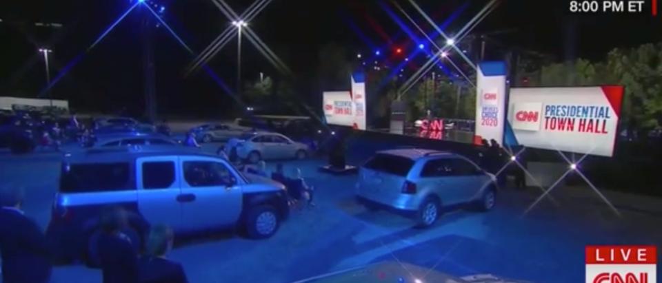 CNN hosted a drive-in town hall for Joe Biden Thursday. (Screenshot CNN)