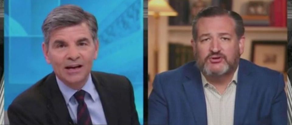 "George Stephanopoulos speaks with Ted Cruz on ""This Week."" Screenshot/ABC"