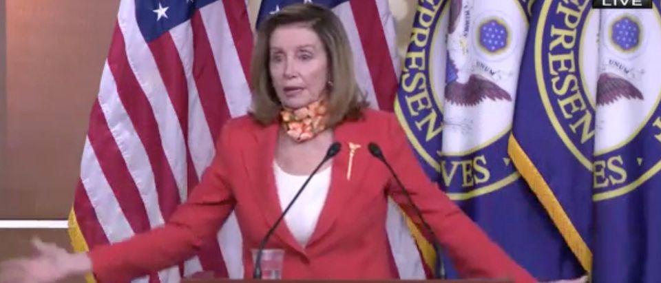 House Speaker Nancy Pelosi gives her weekly press conference. Screenshot/C-Span