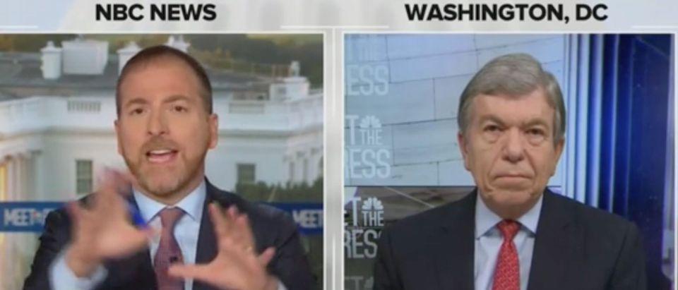 Chuck Todd speaks with Republican Missouri Sen. Roy Blunt. Screenshot/NBC