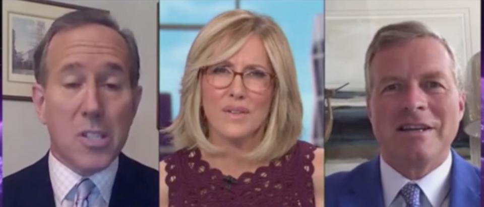 Alisyn Camerota speaks to Rick Santorum about Trump's tax returns. (Screenshot CNN)