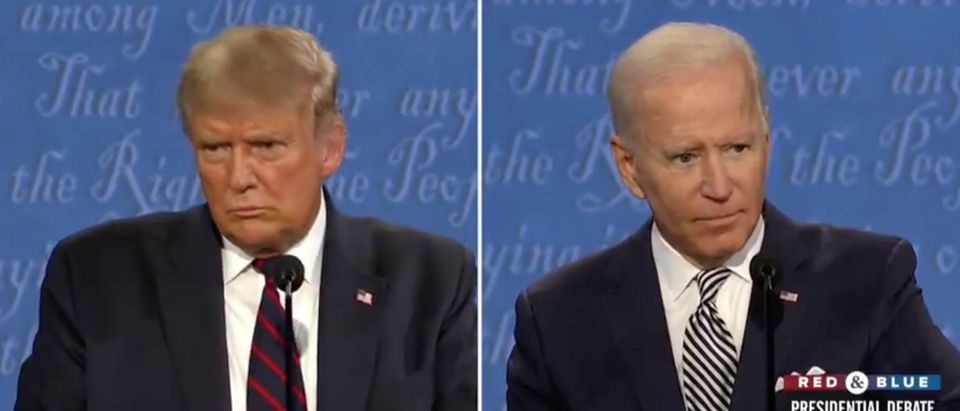 Donald Trump and Joe Biden debate. Screenshot/CBS