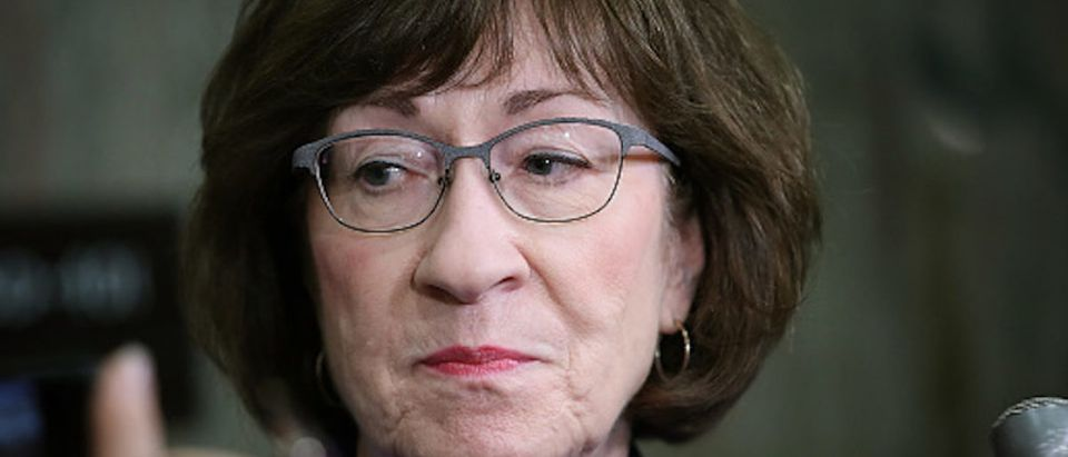 Sen. Susan Collins (R-ME) answers questions from reporters on allegations against Supreme Court nominee Brett Kavanaugh on Capitol Hill September 17, 2018 in Washington, DC