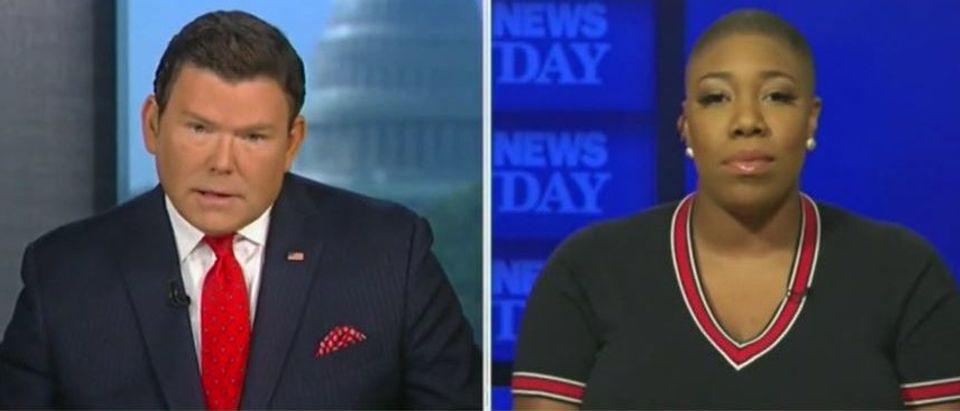 Symone Sanders dodges Bret Baier's question about Biden getting vaccine (Fox News screengrab)