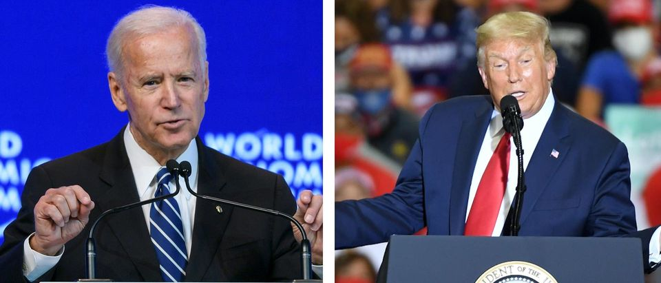 Joe Biden and Donald Trump speak at events (LEFT: FABRICE COFFRINI/AFP via Getty Images; RIGHT: Ethan Miller/Getty Images)