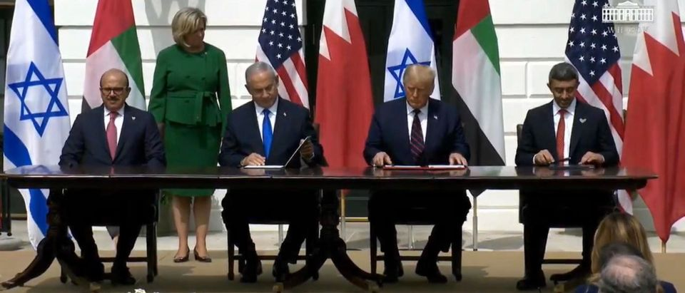 President Trump and leaders of the Middle East. (Screenshot/YouTube/White House)