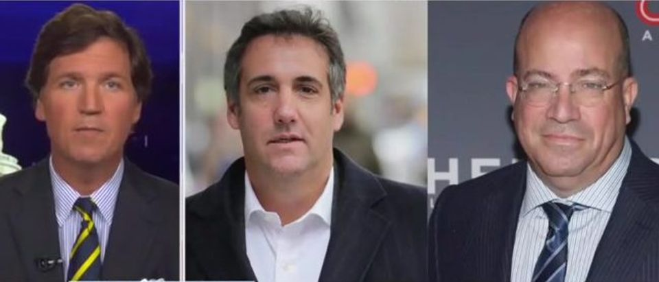 Tucker Carlson reveals conversation between Zucker and Cohen (Fox News screengrab)