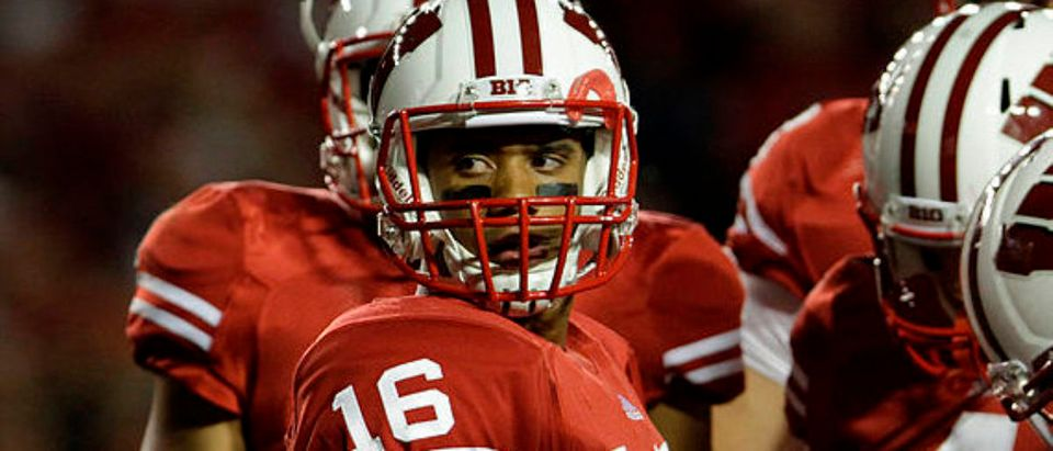 MADISON, WI - OCTOBER 01: Russell Wilson #16 of the Wisconsin Badgers takes on the Nebraska Cornhuskers October 1, 2011 at Camp Randall stadium in Madison, Wisconsin. Wisconsin defeated Nebraska 48-17. (Photo by John Gress/Getty Images)
