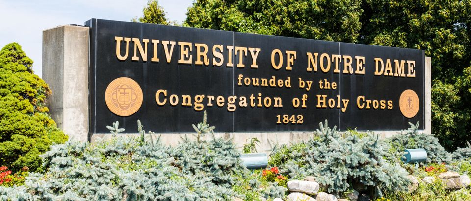 Notre Dame - Circa August 2018: Entrance sign to the University of Notre Dame. Notre Dame is a private Catholic University famous for the Fighting Irish I