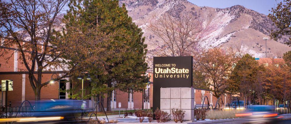 shutterstock_1683188638/November 1, 2019: The entrance sign to the campus of Utah State University in Logan, Utah.