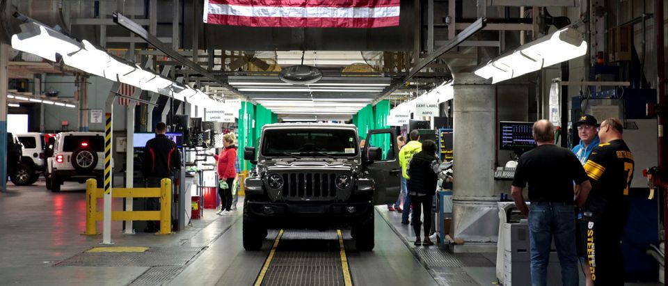 2019 Jeep Wranglers move to the Final 1 assembly line at the Chrysler Jeep Assembly plant in Toledo, Ohio