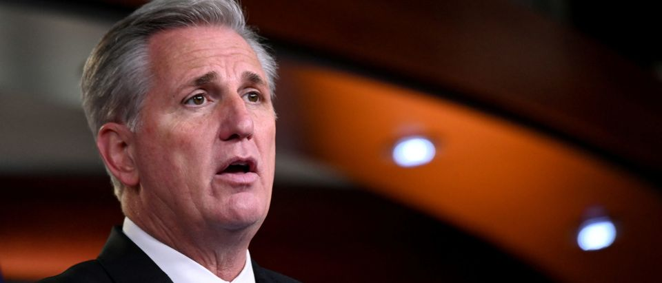U.S. House Minority Leader McCarthy speaks during his weekly news conference with Capitol Hill reporters in Washington