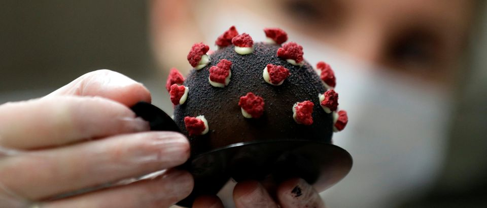 Cakes shaped like a microscopic view of the coronavirus in Prague
