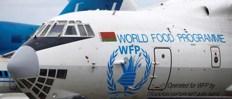 Logo of the World Food Programme humanitarian organization is seen on a plane at the National Airport Minsk