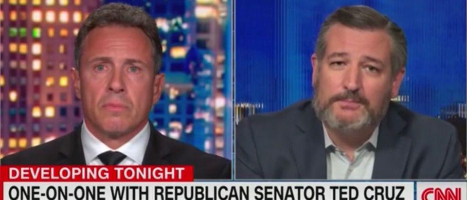 Sen. Ted Cruz (R-TX) appears with CNN host Chris Cuomo (L)