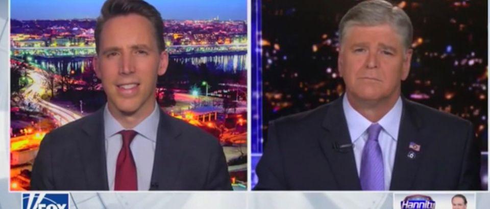 Sen. Josh Hawley (R-MO) talks with Fox News' Sean Hannity