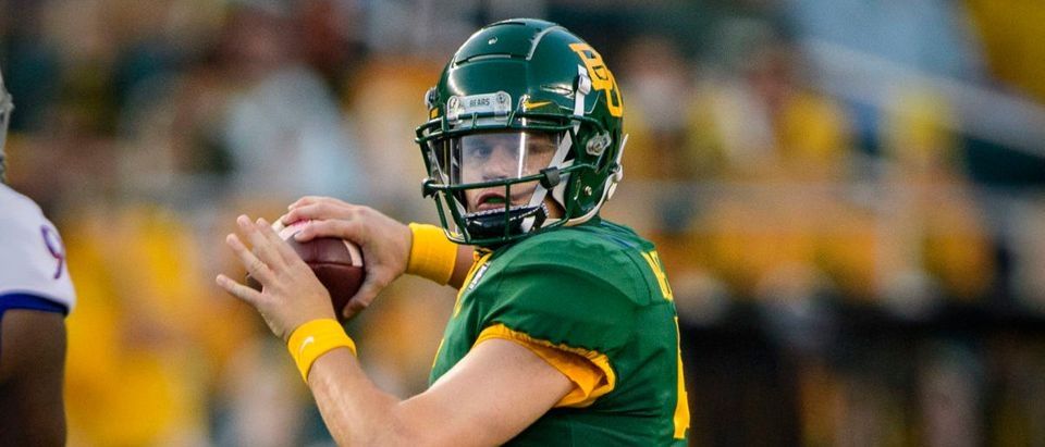 Sep 26, 2020; Waco, Texas, USA; Baylor Bears quarterback Charlie Brewer (5) in action during the game between the Bears and the Jayhawks at McLane Stadium. Mandatory Credit: Jerome Miron-USA TODAY Sports via Reuters