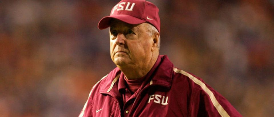GAINESVILLE, FL - NOVEMBER 26: Head coach Bobby Bowden of the Florida State Seminoles watches on during their game against the Florida Gators on November 26, 2005 at Ben Hill Griffin Stadium in Gainesville, Florida. (Photo by Streeter Lecka/Getty Images)