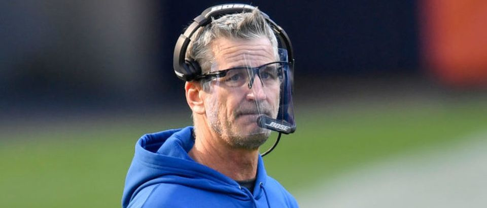 CHICAGO, ILLINOIS - OCTOBER 04: Head coach Frank Reich of the Indianapolis Colts looks on in the second quarter against the Chicago Bearsof the Indianapolis Colts at Soldier Field on October 04, 2020 in Chicago, Illinois. (Photo by Quinn Harris/Getty Images)