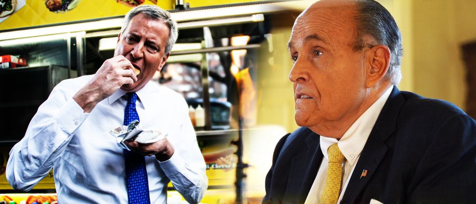 Bill de Blasio, Rudy Giuliani (Getty Images, Daily Caller)