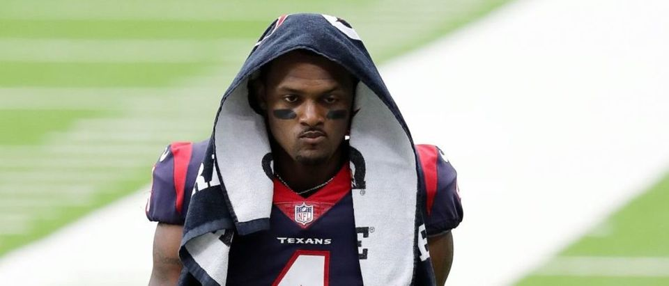 HOUSTON, TEXAS - OCTOBER 04: Deshaun Watson #4 of the Houston Texans walks off the field at halftime against the Minnesota Vikings at NRG Stadium on October 04, 2020 in Houston, Texas. (Photo by Bob Levey/Getty Images)