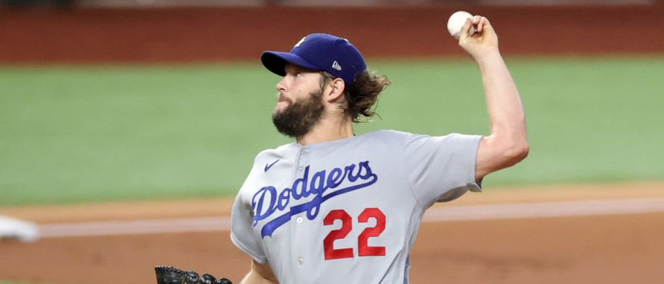 ARLINGTON, TEXAS - OCTOBER 25: Clayton Kershaw #22 of the Los Angeles Dodgers delivers the pitch against the Tampa Bay Rays during the first inning in Game Five of the 2020 MLB World Series at Globe Life Field on October 25, 2020 in Arlington, Texas. (Photo by Tom Pennington/Getty Images)
