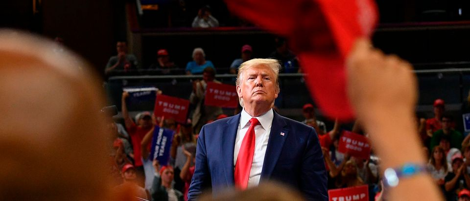 US President Donald Trump speaks during a rally at the Amway Center in Orlando, Florida to officially launch his 2020 campaign on June 18, 2019. (Photo by Mandel Ngan/AFP via Getty Images)