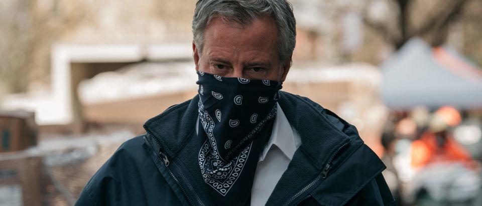 New York City Mayor De Blasio Visits A Food Pantry During Coronavirus Pandemic
