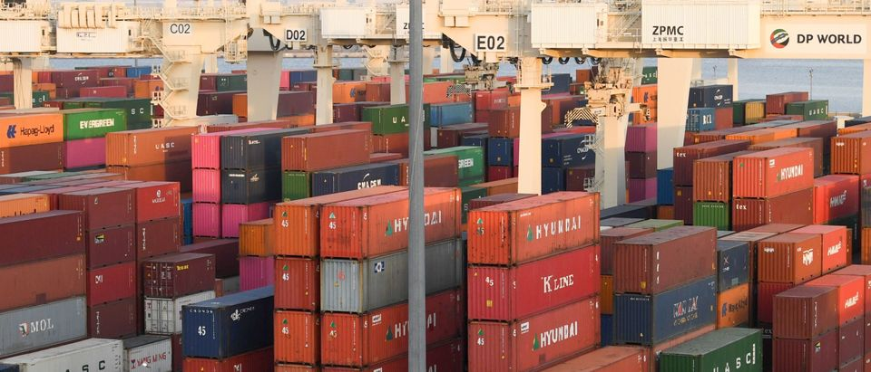 """Containers are stacked at the port of Jebel Ali, operated by the Dubai-based giant ports operator DP World, in the southern outskirts of the Gulf emirate of Dubai, on June 18, 2020. - The chairman of DP World said it is """"preparing for the worst"""" with the full impact of coronavirus to hit in coming months, as global trade suffers its worst blow since World War II. The firm and its subsidiaries are a major source of cash for the emirate's economy, one of the most diversified in the oil-rich Gulf but mired in a long malaise. (Photo by Karim Sahib/AFP via Getty Images)"""