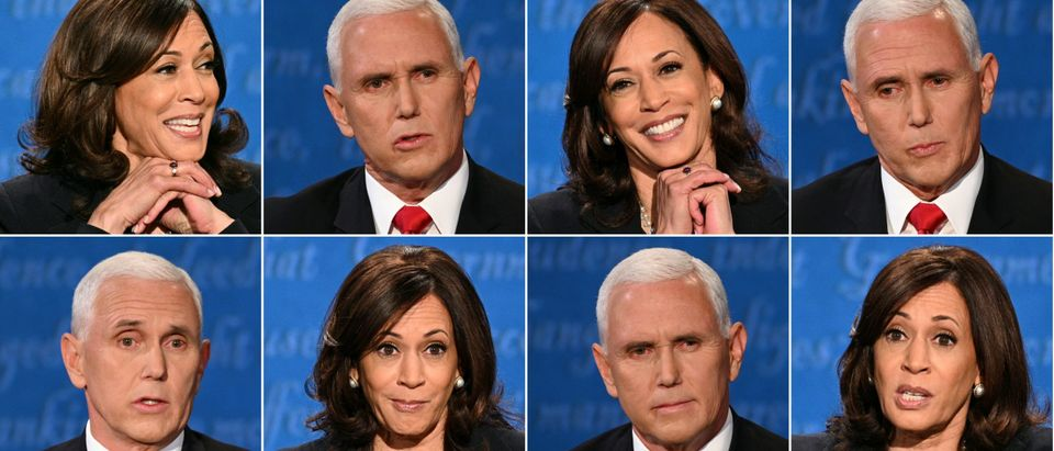 TOPSHOT - (COMBO) This combination of pictures created on October 07, 2020 shows US Democratic vice presidential nominee and Senator from California Kamala Harris and US Vice President Mike Pence during the vice presidential debate in Kingsbury Hall at the University of Utah on October 7, 2020, in Salt Lake City, Utah. (ROBYN BECK,ERIC BARADAT/AFP via Getty Images)