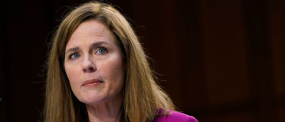 Supreme Court nominee Amy Coney Barrett looks on during her Senate Judiciary Committee confirmation hearing for Supreme Court Justice on Capitol Hill on October 12, 2020 in Washington, DC. (Patrick Semansky - Pool/Getty Images)