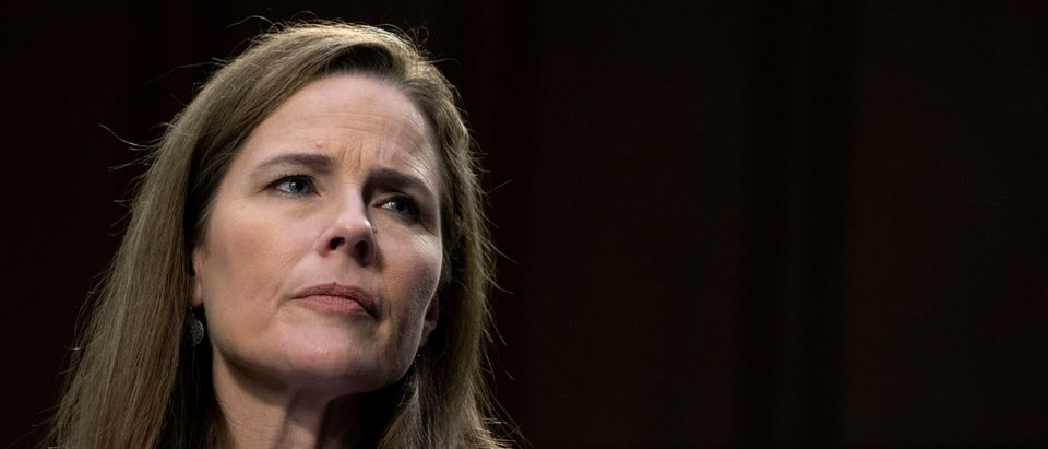 Supreme Court nominee Amy Coney Barrett testifies in front of the Senate Judiciary Committee on the third day of her confirmation hearings on Capitol Hill on October 14, 2020 in Washington, DC. (Stefani Reynolds-Pool/Getty Images)