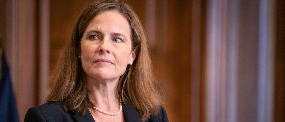 Supreme Court Justice Nominee Amy Coney Barrett Meets With Senators Ahead Of Confirmation Vote