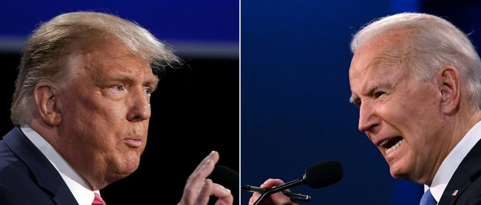 (COMBO) This combination of pictures created on October 22, 2020 shows US President Donald Trump (L) and Democratic Presidential candidate and former US Vice President Joe Biden during the final presidential debate at Belmont University in Nashville, Tennessee, on October 22, 2020. (BRENDAN SMIALOWSKI,JIM WATSON/AFP via Getty Images)