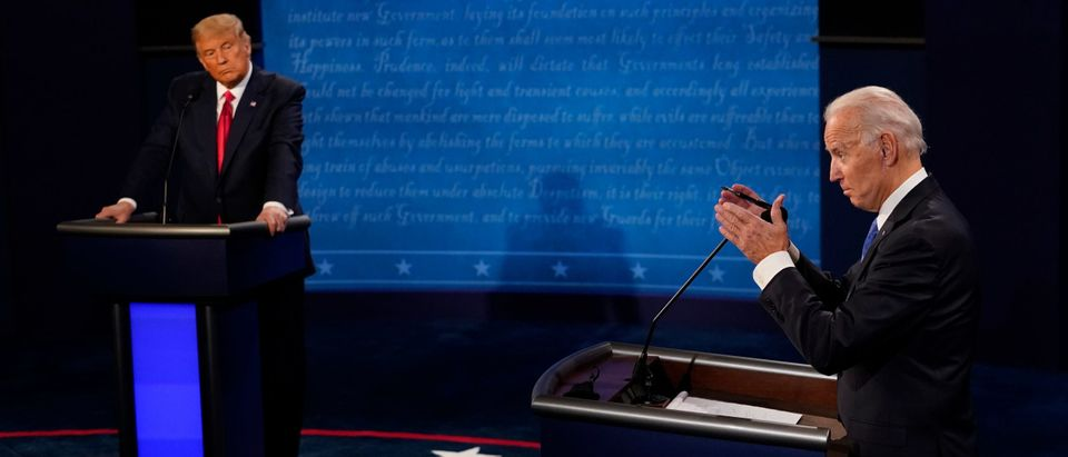 NASHVILLE, TENNESSEE - OCTOBER 22: Democratic presidential candidate former Vice President Joe Biden answers a question as President Donald Trump listens during the second and final presidential debate at Belmont University on October 22, 2020 in Nashville, Tennessee. This is the last debate between the two candidates before the election on November 3. (Morry Gash-Pool/Getty Images)