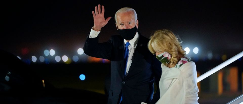 NEW CASTLE, DE - OCTOBER 23: Democratic presidential nominee Joe Biden and his wife Dr. Jill Biden exit his campaign plane at New Castle Airport on October 23, 2020 in New Castle, Delaware. Biden was returning from Nashville, Tennessee and the final presidential debate with President Donald Trump. (Drew Angerer/Getty Images)