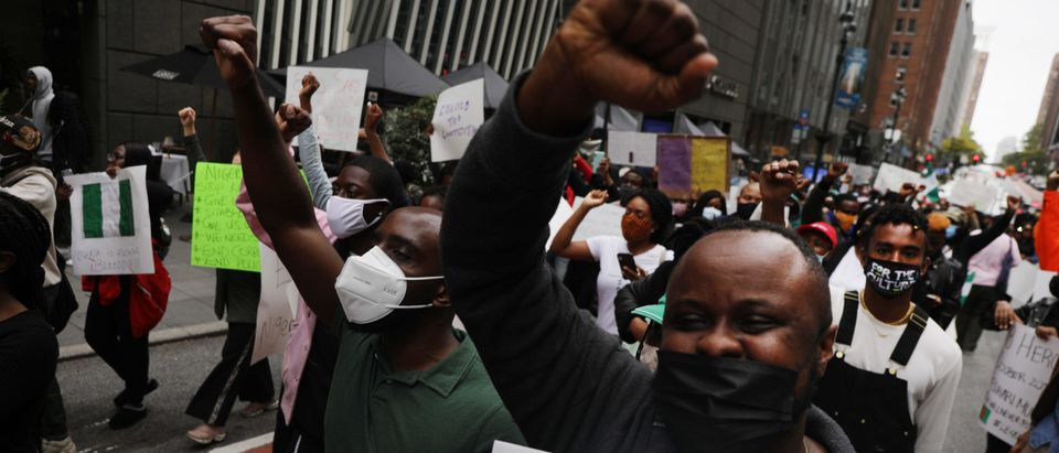 Protestors In New York City Rally Against Police Violence In Nigeria
