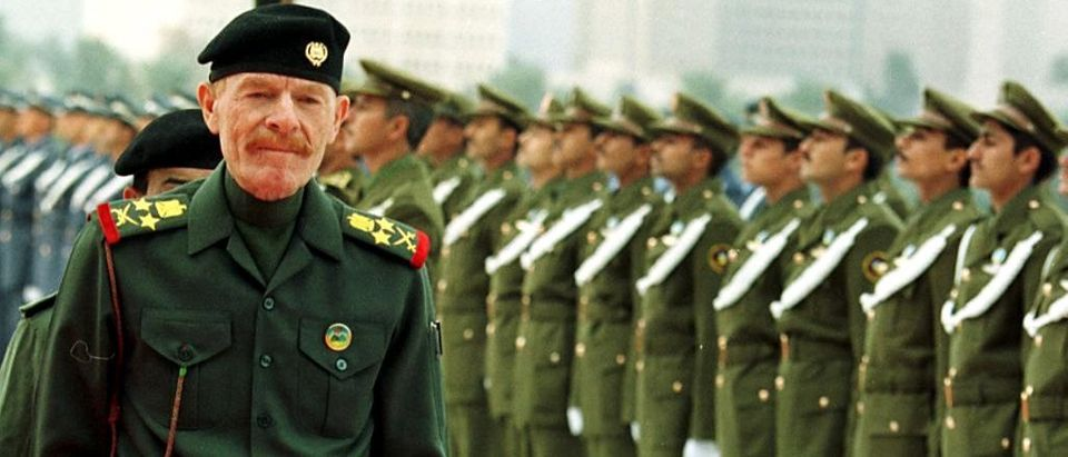 Iraq's number two Ezzat Ibrahim al-Douri reviews a