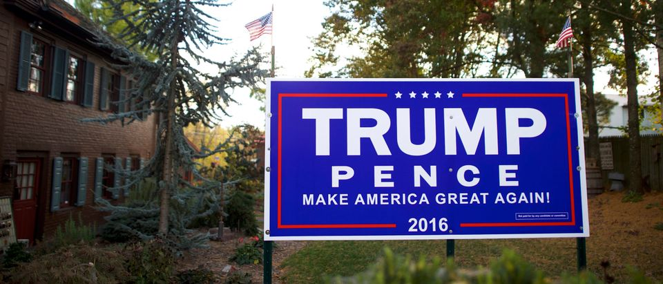 ABBOTTSTOWN, PA - OCTOBER 22: A Donald Trump yard sign is displayed outside a residence October 22, 2016 in Abbottstown, Pennsylvania. Trump delivered a policy speech in nearby Gettysburg, announcing plans for his first 100 days in office. (Mark Makela/Getty Images)