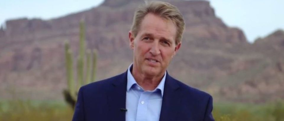 Jeff Flake films Biden campaign ad (Twitter screengrab)