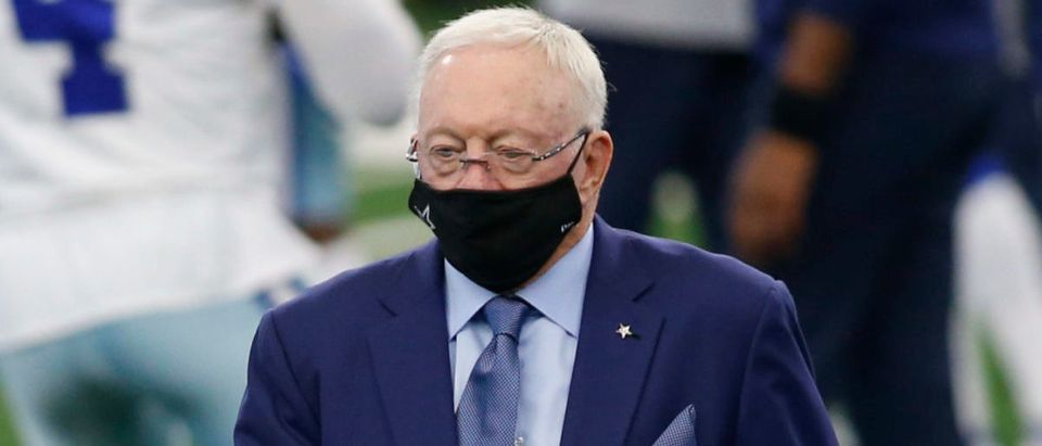Oct 11, 2020; Arlington, Texas, USA; Dallas Cowboys owner Jerry Jones walks on the field before the game against the New York Giants at AT&T Stadium. Mandatory Credit: Tim Heitman-USA TODAY Sports via Reuters